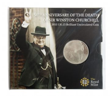 2015 £5 Churchill Royal Mint Brilliant Uncirculated pack